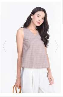 Fayth Kylee Checkered Top (Dusty Rose) Size S