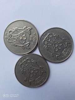 澳門-壹圓硬幣-三枚-(82/83年)