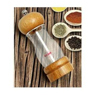 "Woody Salt & Pepper Grinder / Mill-  6"" Glass and Wood Nordic Style"