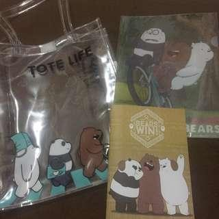 we bare bears package (transparent tote bag+clearfile a4+notebook a5)