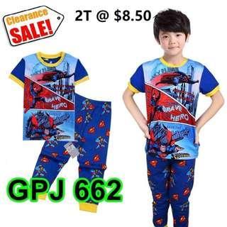 Clearance-- --Superman Brave Hero Short Sleeve Pyjamas  for  2T