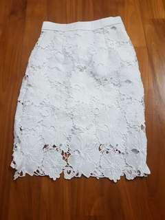 #idotrades white floral lace skirt