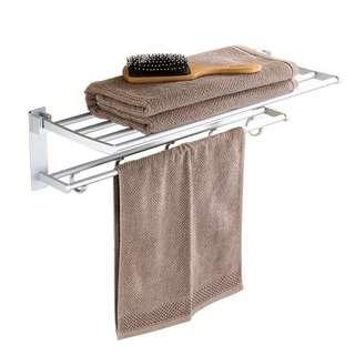 免打孔浴室太空鋁吸壁式洗手間毛巾架雙桿掛件