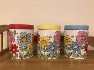 全新Cath Kidston 陶瓷食物罐三個