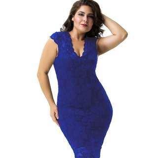 CELLY Plus Size Elegant Blue Half Sleeve Slim Fashion Dress (CSOH V1060-1P)