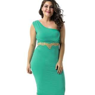 CELLY Plus Size Delicate Green One-shoulder Bodycon Dress (CSOH R80484P)
