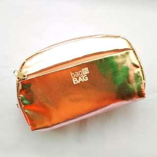 BaginBag Mettalic Rose Gold Cosmetic Pouch