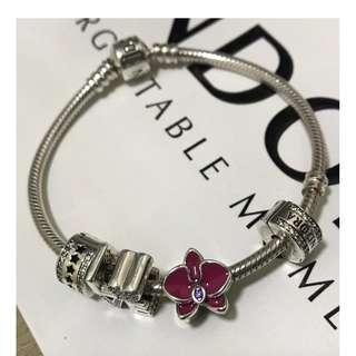 原價$449 全新 Pandora Orchid Charm 紫蘭花吊飾