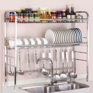 🚚 Stainless Steel Dishes Rack Kitchen Basin Storage Shelf Kitchenware
