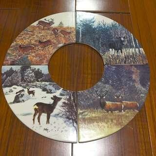 4x Ceramic Deer Disc display unit set