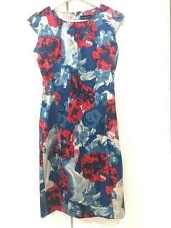 BLUE RED SUIT SILK DRESS