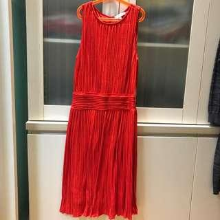 Red Dress pleated