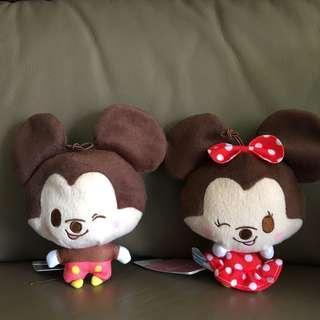 Disney Mickey Mouse & Minnie Mouse 米奇美妮 開心笑 大頭公仔吊飾 一對
