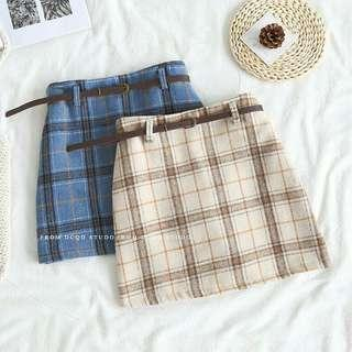FREE POSTAGE! Checkered Skirt with Belt