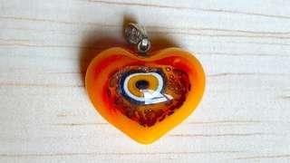 🎉Evil Eyes or Cat Eyes or Lucky Eyes import From Turkey 🇹🇷 Istanbul pendant little heart color orange