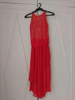 Red ankle length gown