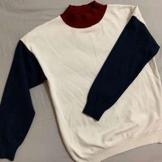 🚚 拼色 紅藍 毛衣