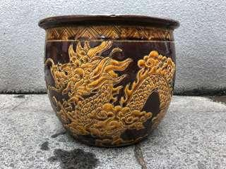 Vintage Carved Dragon Flower Pot