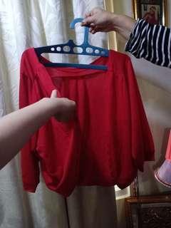 Bolero / outer merah tangan balon