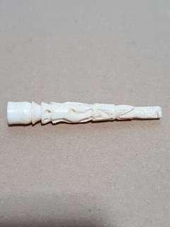 Vintage Genuine Ox Bone Carved Cigrette Holder