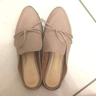 Flat Shoes Slip On Tutu Toe Pink Nude Sepatu Wanita