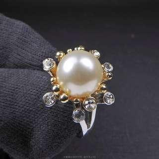 🚚 珍珠林~10MM最高級南洋貝珍珠戒.雙色花戒.白珍珠.內俓16.17.18mm #087