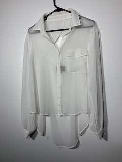 White Shear Button Up Long Sleeve Shirt