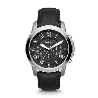 Fossil Grant Chronograph Men's Black Leather Strap Watch