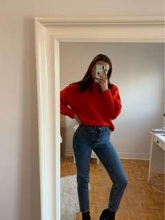 Red knit sweater from H&M