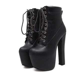 Black Lace Up Platform Boots size 34 and 40