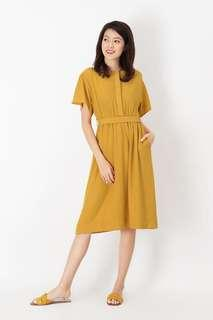 🚚 AForArcade Layla Ruch Midi Dress in Honey Mustard (AFA)