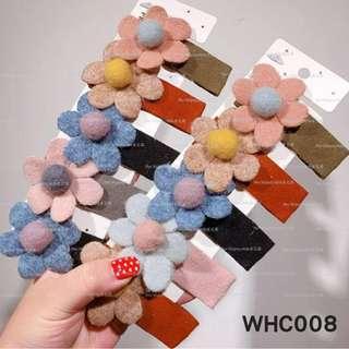 【Her Majesty的秘密花園】韓國少女羊絨花朵大ㄚ夾少邊夾側夾髮飾髮夾(不挑色隨機出貨)WHC008