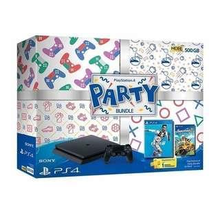 PS4 SLIM 500GB PARTY BUNDLE + 2 STIK + 2 KASET