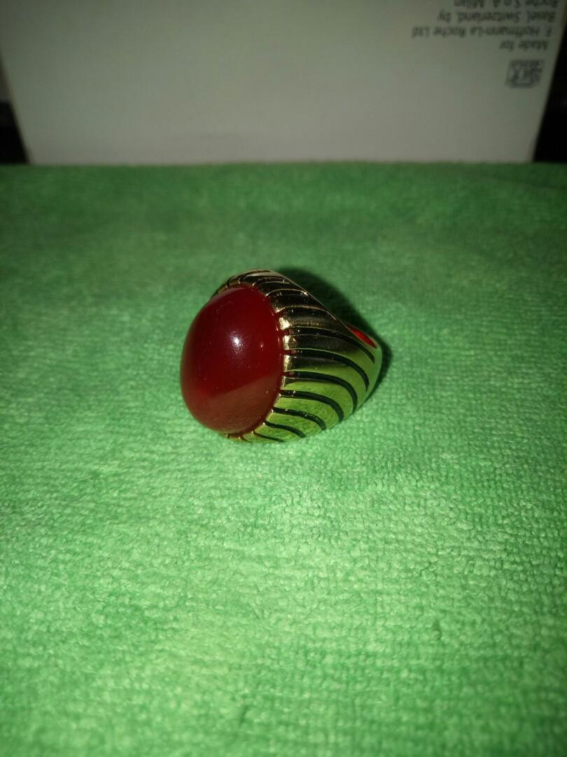 """"""" Red Baron Gemstone with gold ring """""""