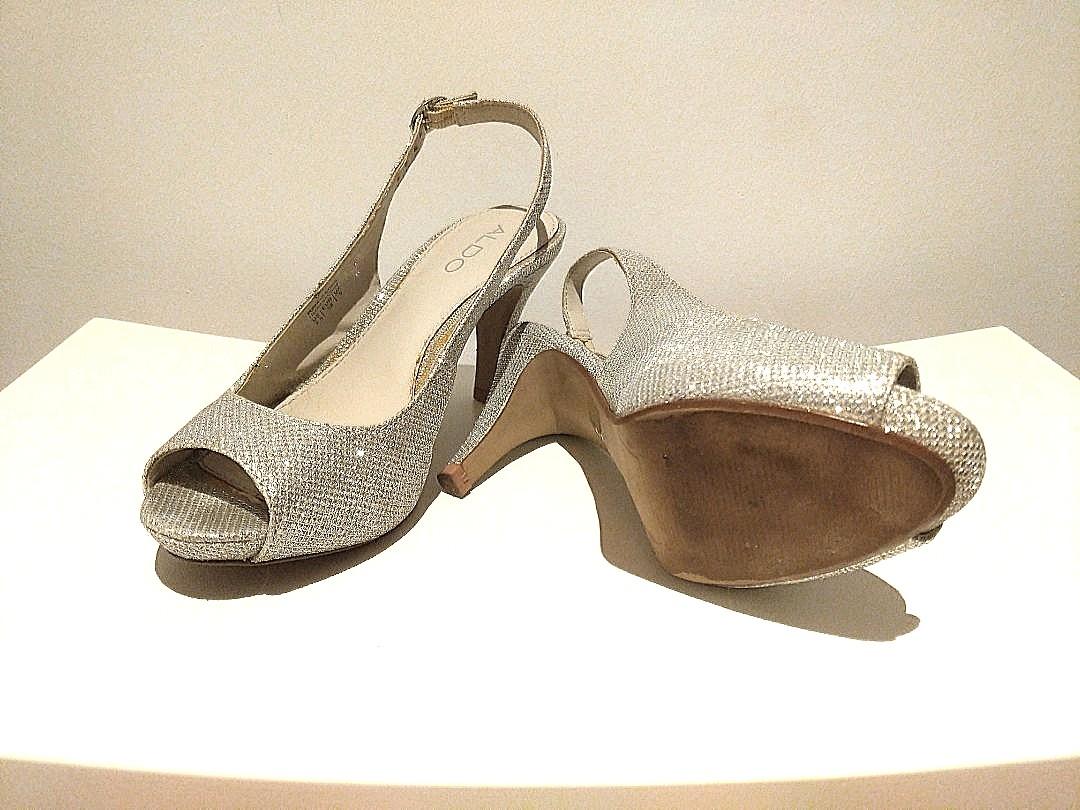 Aldo metallic silver platform heels