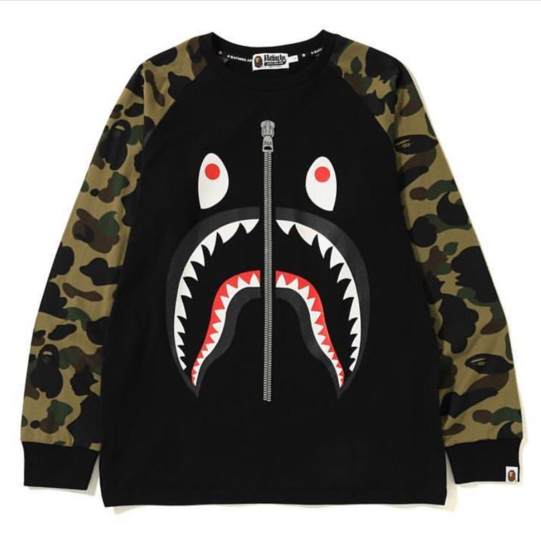 177df0cd Bape 1st Camo Shark LS Tee, Men's Fashion, Clothes, Tops on Carousell