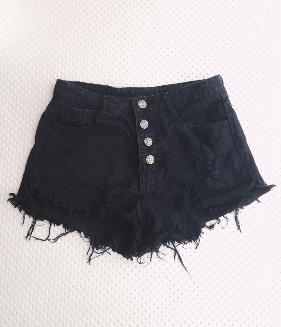Black ripped denim shorts-women ee84c870d781