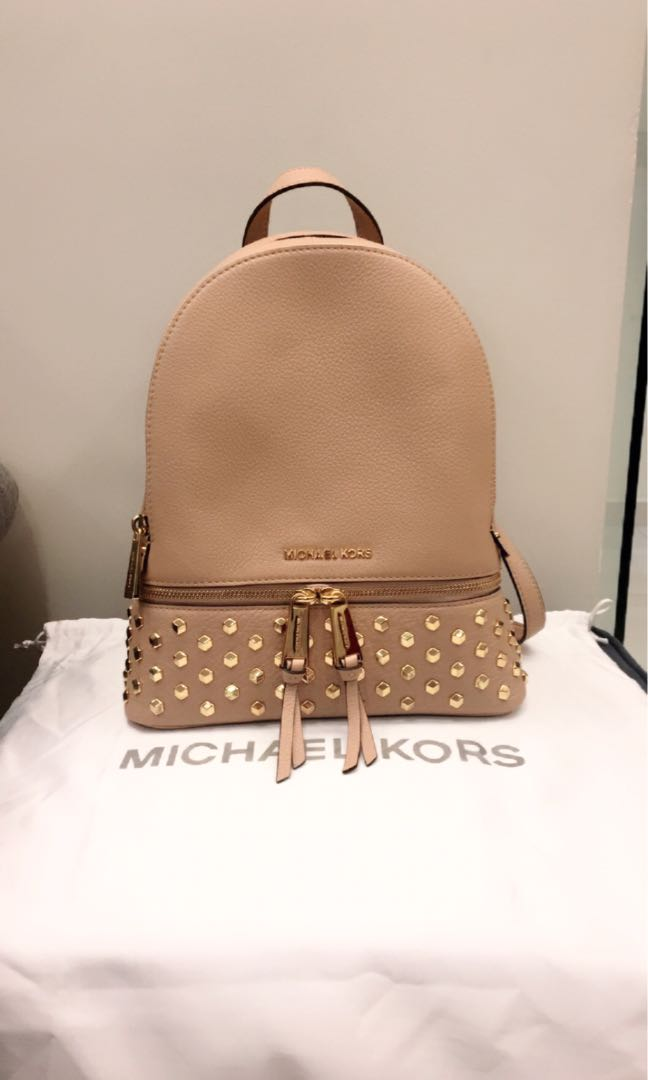 eaf70f019bb BNWT Michael Kors Rhea Medium Studded Leather Backpack, Women's Fashion,  Bags & Wallets, Backpacks on Carousell