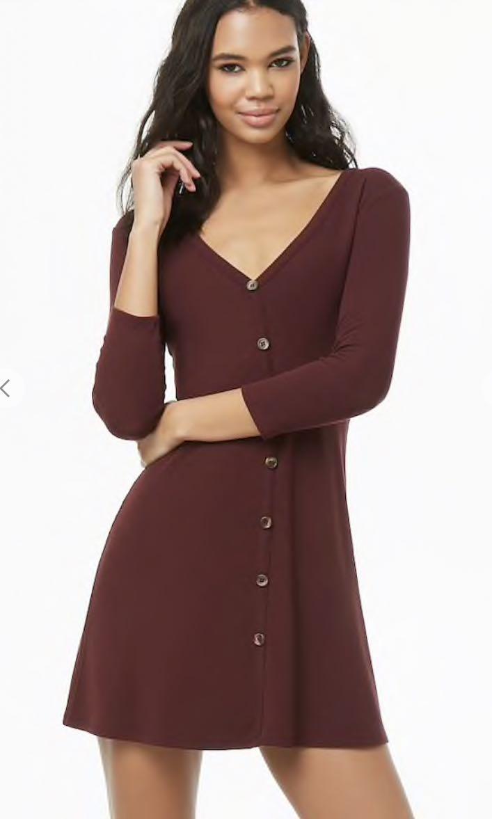 9daeb8e4afc Button Ribbed A-Line Dress