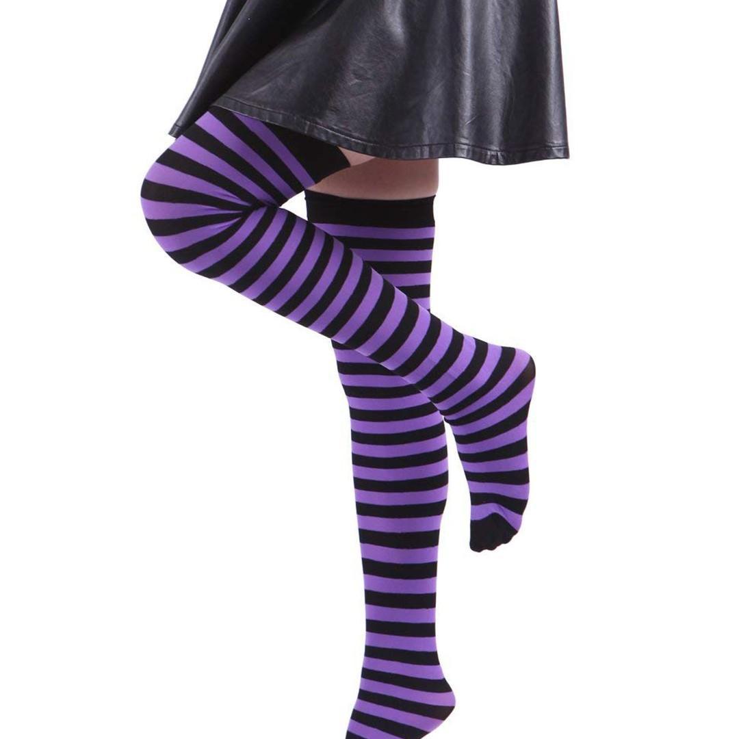 (Chrismas discount) Womens Long Striped Socks Over Knee High Stockings