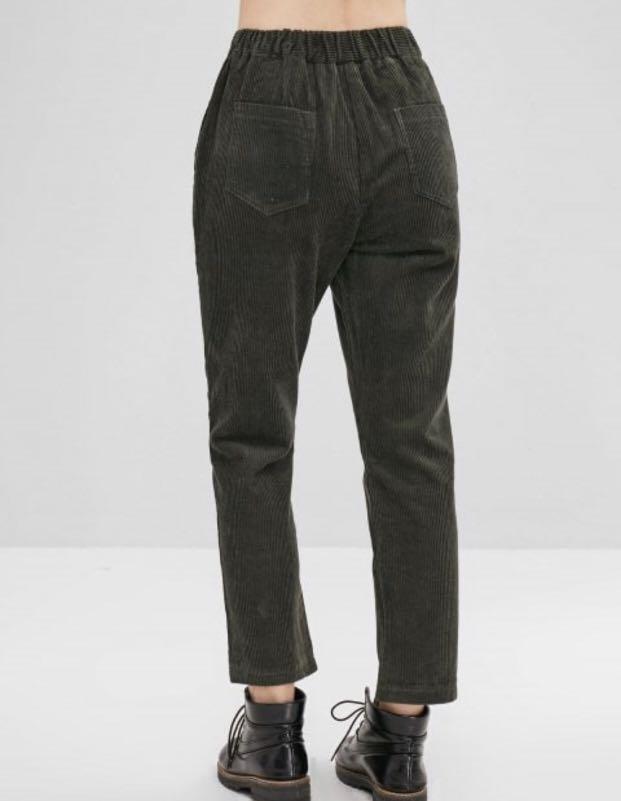 "Corduroy Pencil Pants With Pocket - Dark Green ""2xl"""