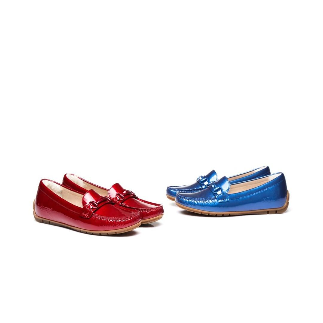 Ever UGG romy Ladies moccasin, Patent Leather Upper, Rubber Sole, Water Resistant