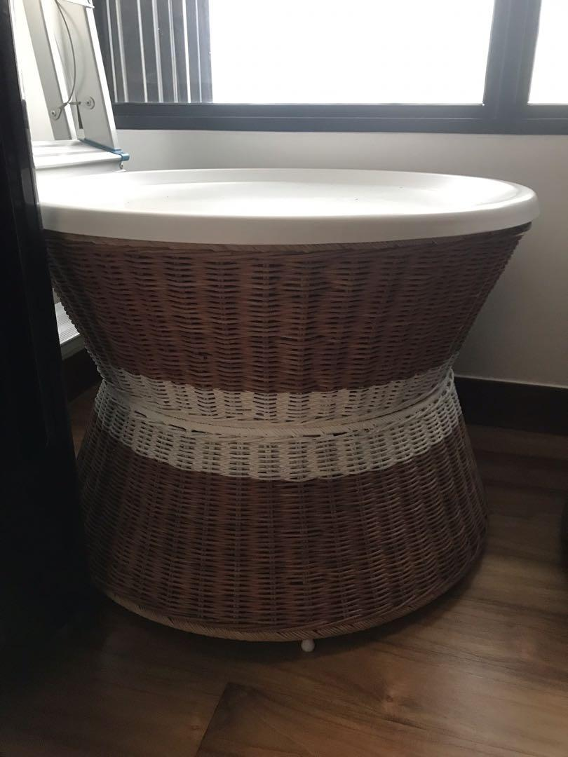 Ikea Rattan Side Table Coffee Table Furniture Tables Chairs On Carousell