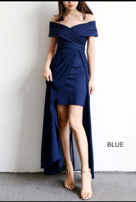 b4c6a3dd4cf preloved dark blue off shoulder prom dress