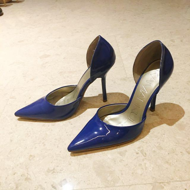 Price Reduced! Electric blue Stilettos + Leather Peep toes (size 6)