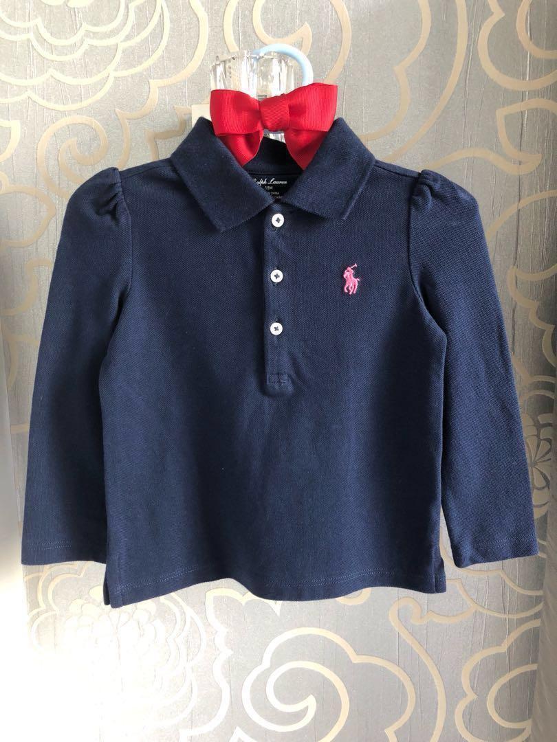 082d3627 Ralph Lauren 18M Cotton Mesh Long Sleeve Polo Tee Shirt for Baby ...