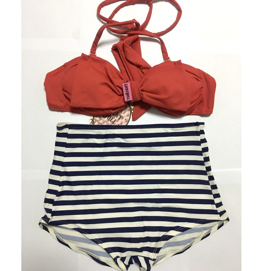 d0dc10059d473 Red Bow Bandeau Halter Navy White Nautical Stripes Retro High Waist 2 piece Swimsuit  Bikini, Women's Fashion, Clothes, Others on Carousell