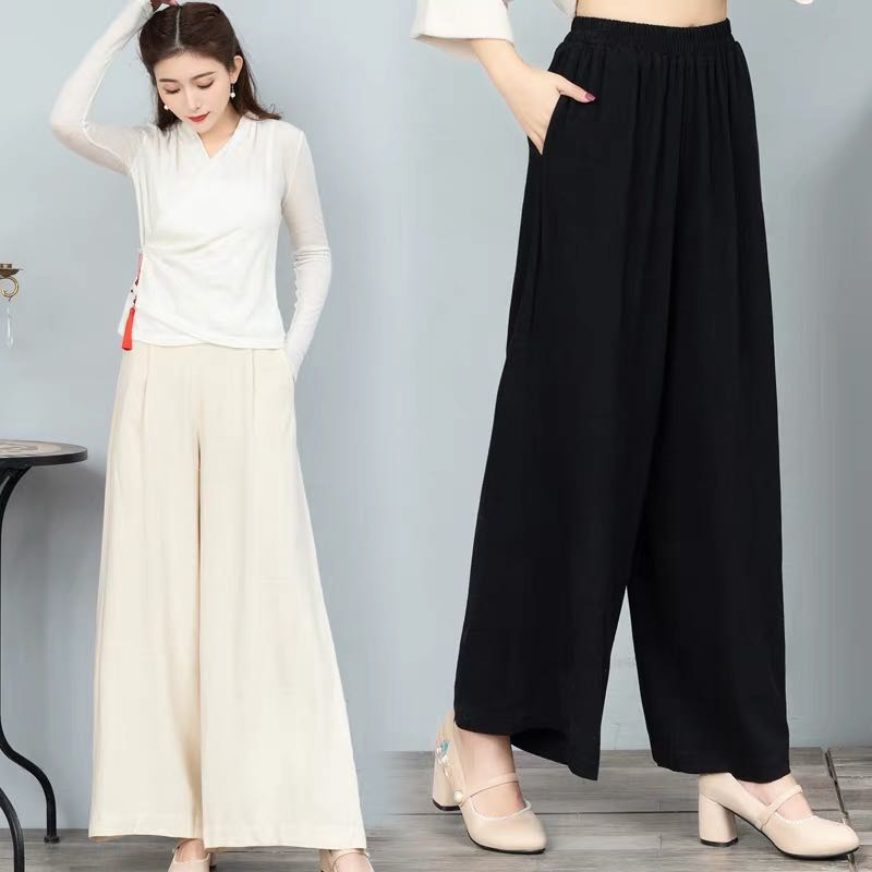 04bb1aec91 Retro casual wide leg pants wide leg cotton pants women's trousers ...
