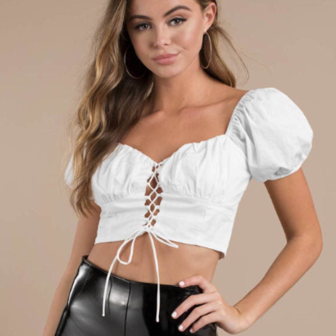04eb44e180fca SALE Tobi Lace Up White Crop Top