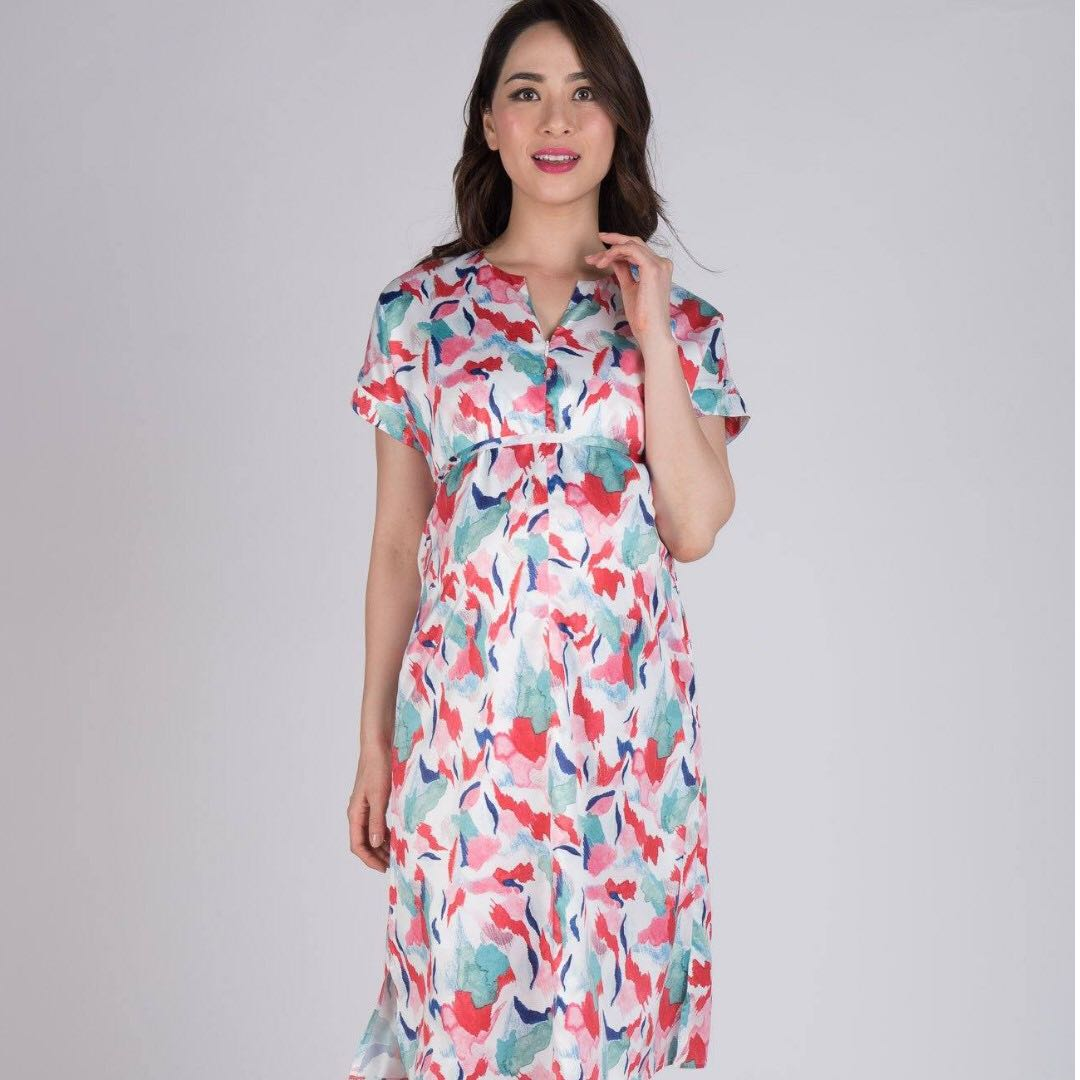 bd21cf992fd18 Spring Time Nursing Midi Dress from Jump Eat Cry, Women's Fashion, Clothes,  Dresses & Skirts on Carousell